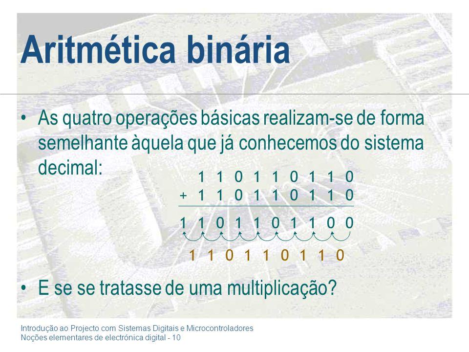 Aritmética binária As quatro operações básicas realizam-se de forma semelhante àquela que já conhecemos do sistema decimal: