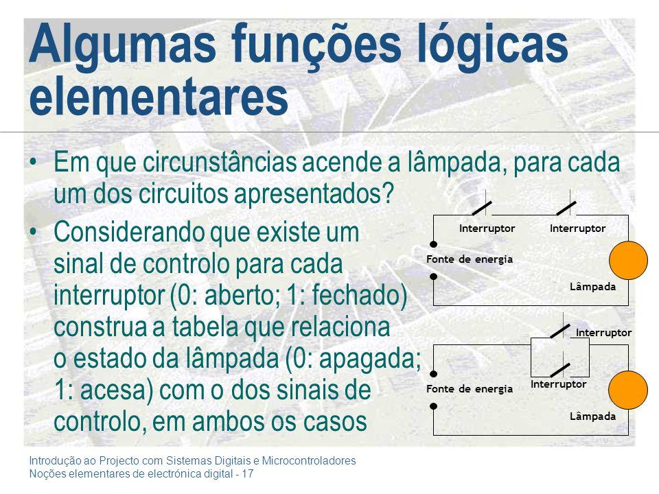 Algumas funções lógicas elementares