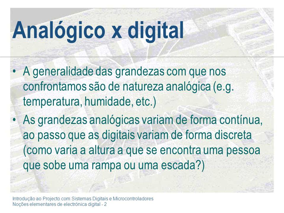 Analógico x digital A generalidade das grandezas com que nos confrontamos são de natureza analógica (e.g. temperatura, humidade, etc.)