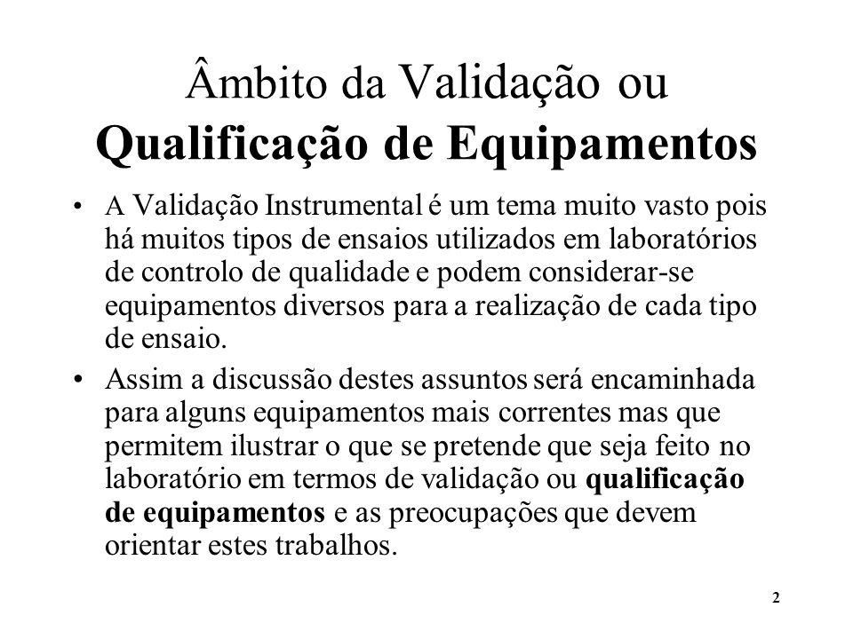 Âmbito da Validação ou Qualificação de Equipamentos