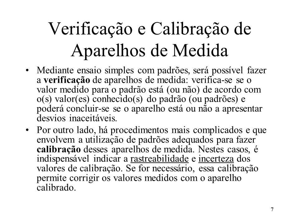 Verificação e Calibração de Aparelhos de Medida