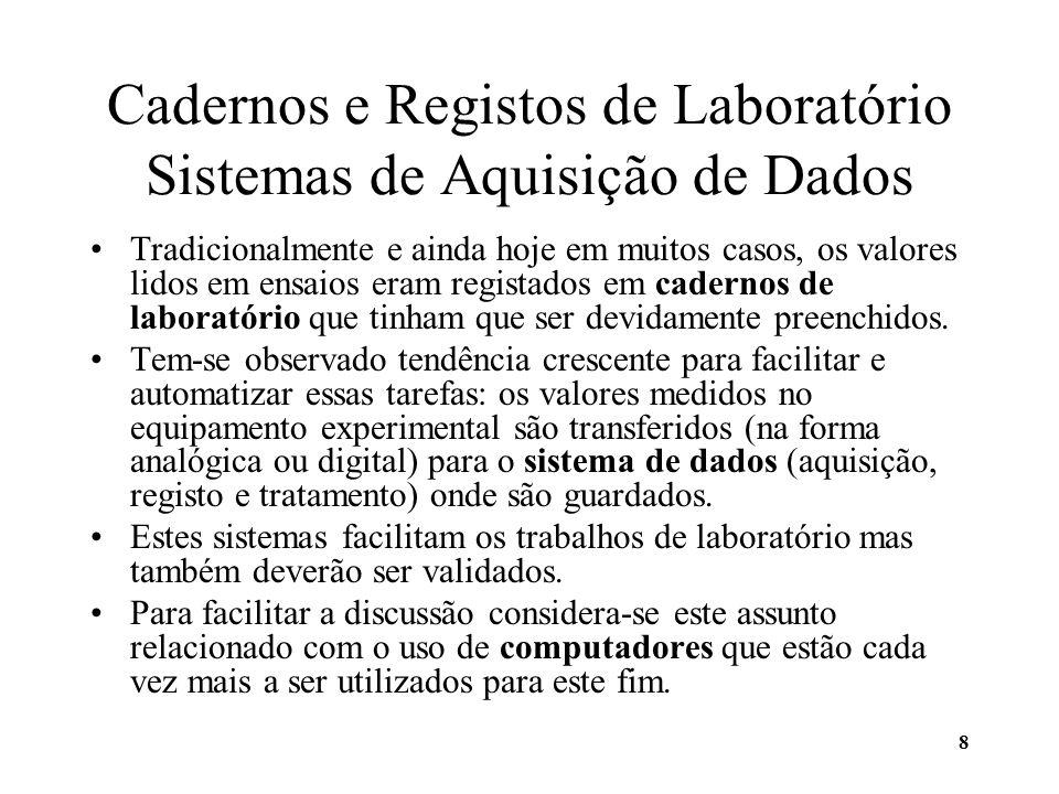 Cadernos e Registos de Laboratório Sistemas de Aquisição de Dados