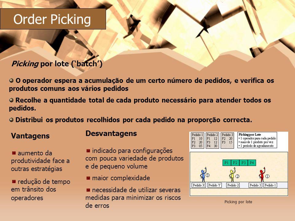 Order Picking Picking por lote ('batch') Desvantagens Vantagens