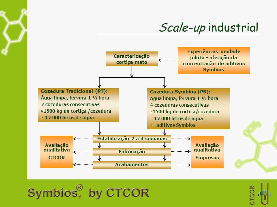 Scale-up industrialExperiências unidade piloto - aferição da concentração de aditivos Symbios. Caracterização cortiça mato.