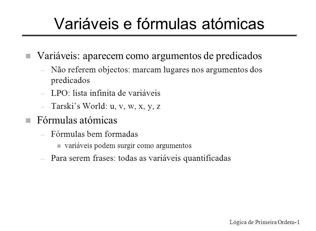 Variáveis e fórmulas atómicas
