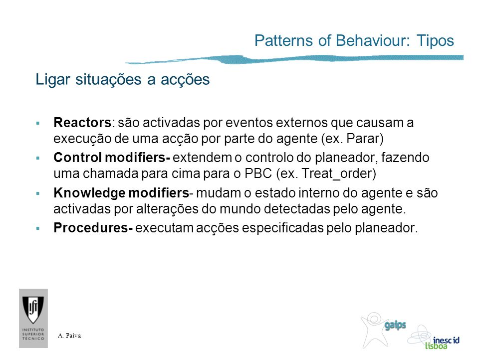 Patterns of Behaviour: Tipos