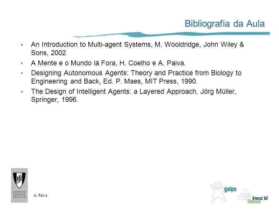 Bibliografia da Aula An Introduction to Multi-agent Systems, M. Wooldridge, John Wiley & Sons, 2002.