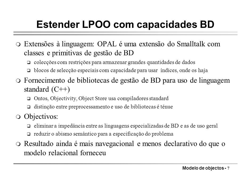 Estender LPOO com capacidades BD