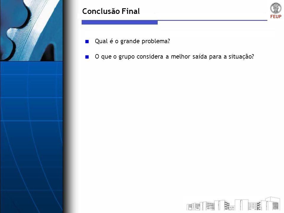 Conclusão Final Qual é o grande problema
