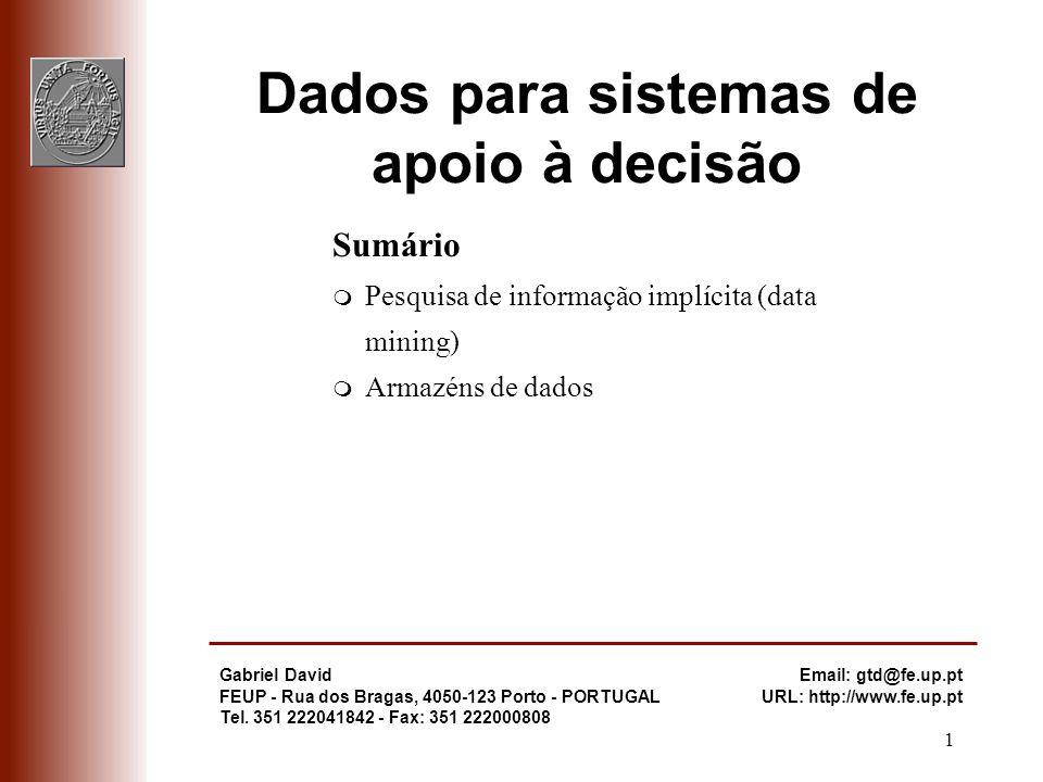 Dados para sistemas de apoio à decisão