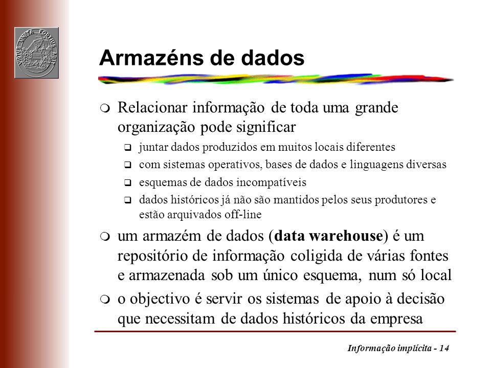 Armazéns de dados Relacionar informação de toda uma grande organização pode significar. juntar dados produzidos em muitos locais diferentes.