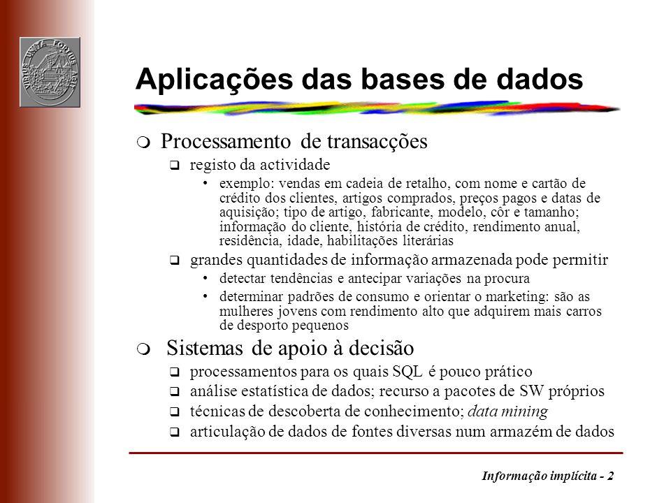 Aplicações das bases de dados