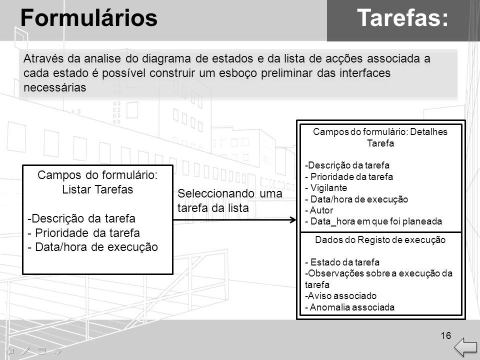 Formulários Tarefas: