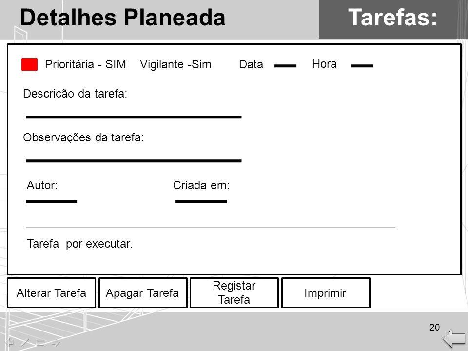 Detalhes Planeada Tarefas: Prioritária - SIM Vigilante -Sim Data Hora