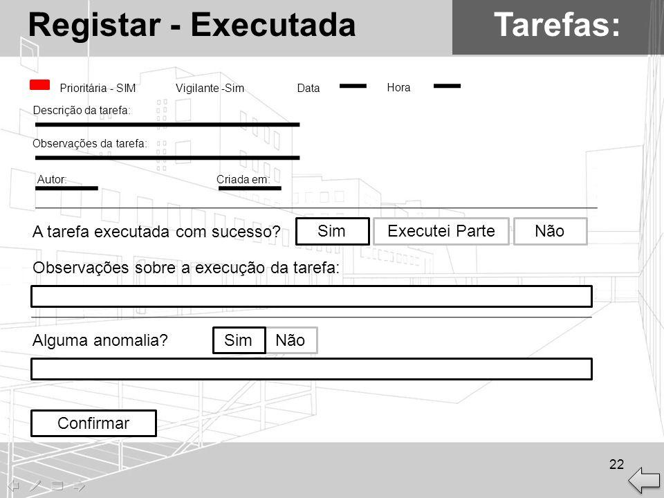 Registar - Executada Tarefas: A tarefa executada com sucesso Sim