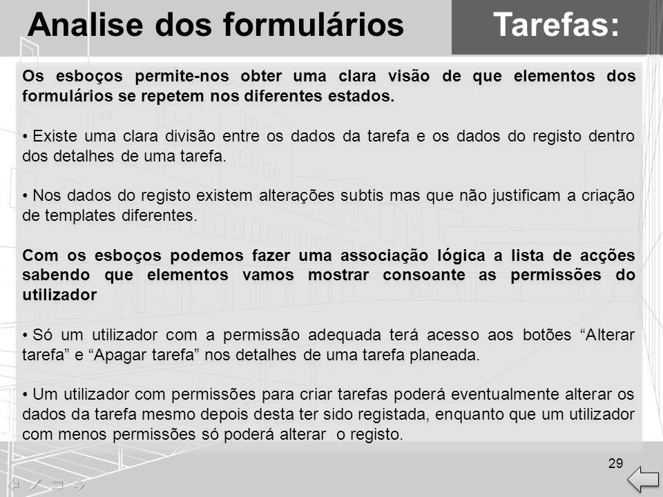 Analise dos formulários Tarefas: