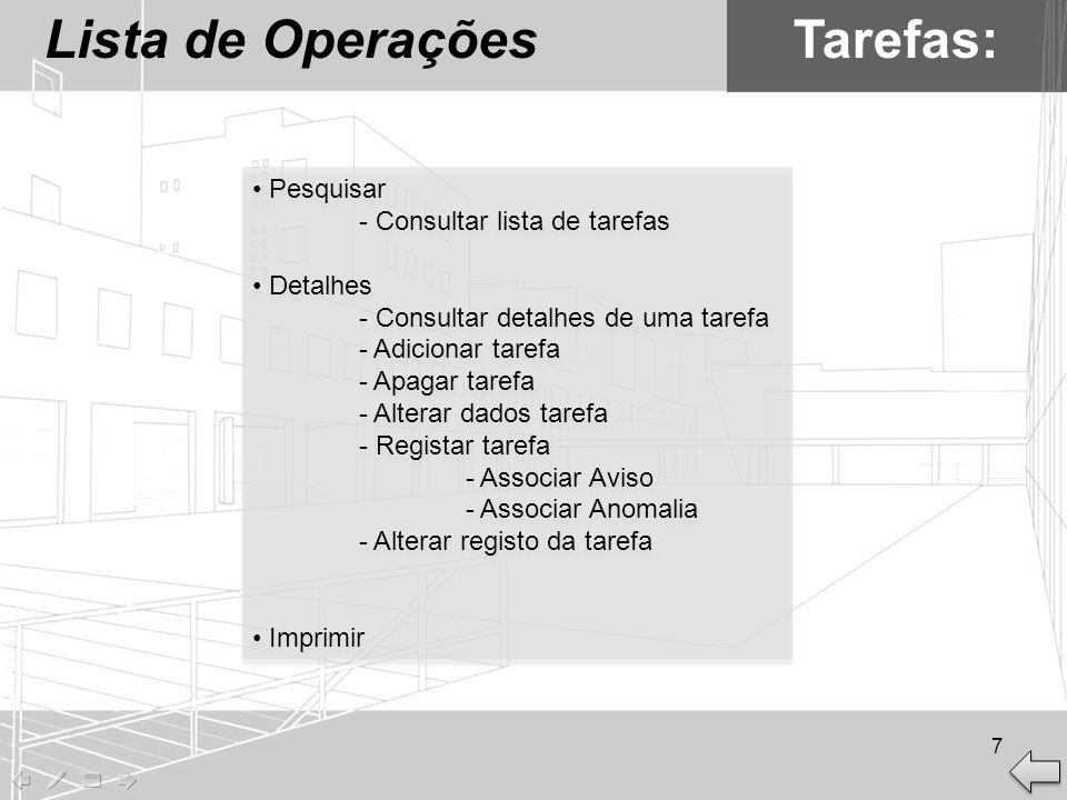 Lista de Operações Tarefas: Pesquisar - Consultar lista de tarefas