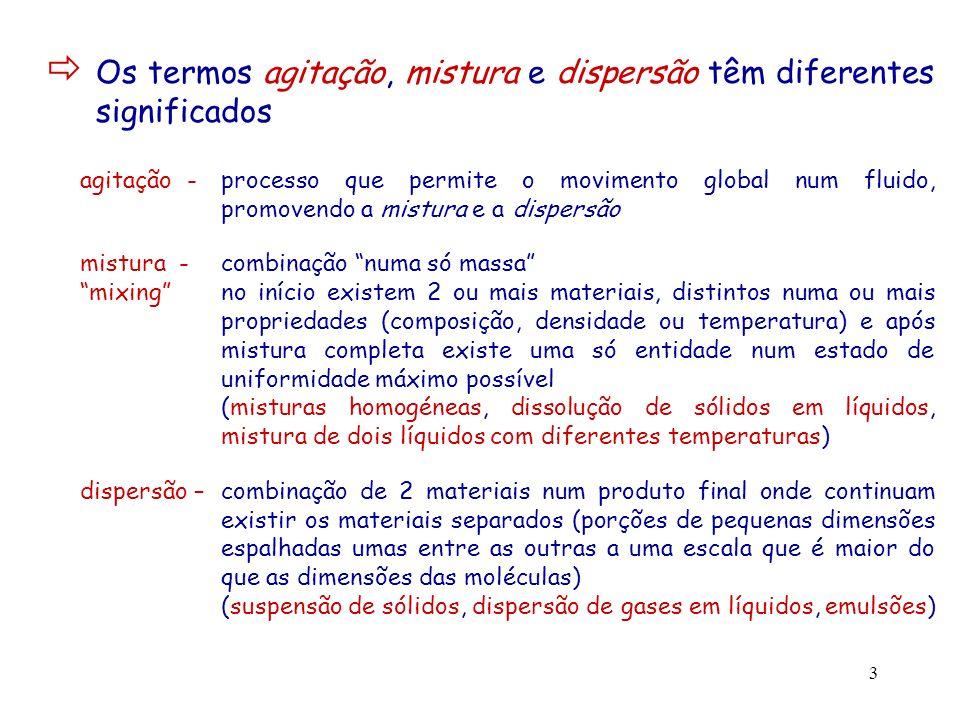 Os termos agitação, mistura e dispersão têm diferentes significados