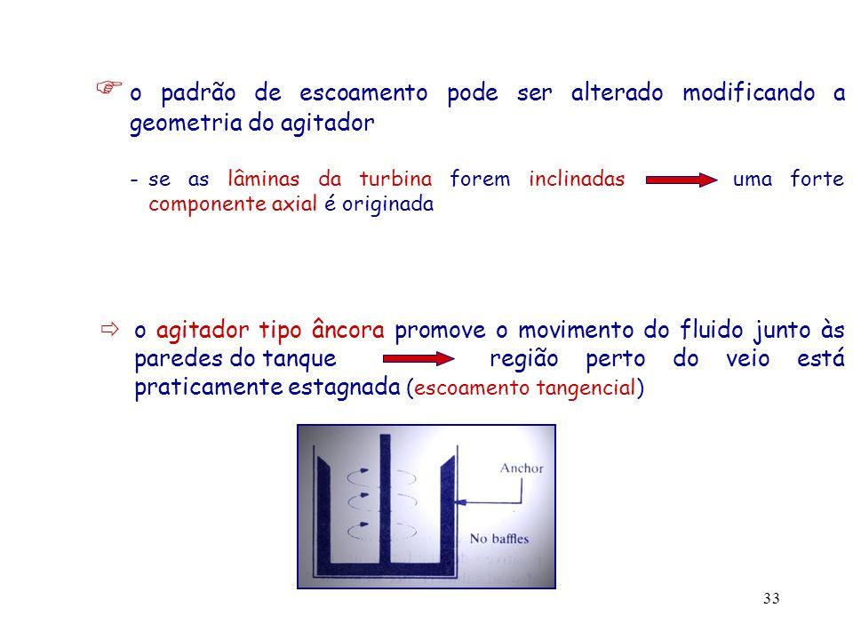  o padrão de escoamento pode ser alterado modificando a geometria do agitador