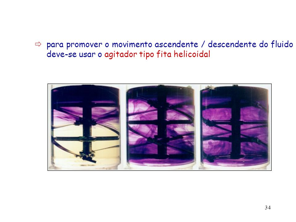  para promover o movimento ascendente / descendente do fluido deve-se usar o agitador tipo fita helicoidal
