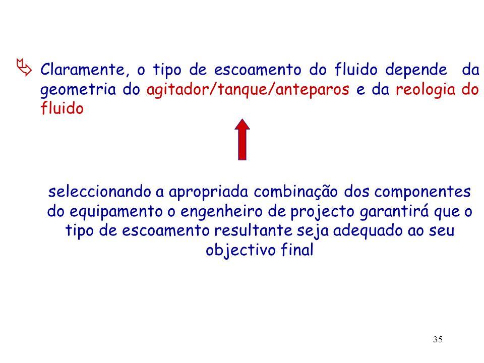 Claramente, o tipo de escoamento do fluido depende da geometria do agitador/tanque/anteparos e da reologia do fluido