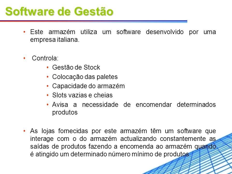 Software de GestãoEste armazém utiliza um software desenvolvido por uma empresa italiana. Controla: