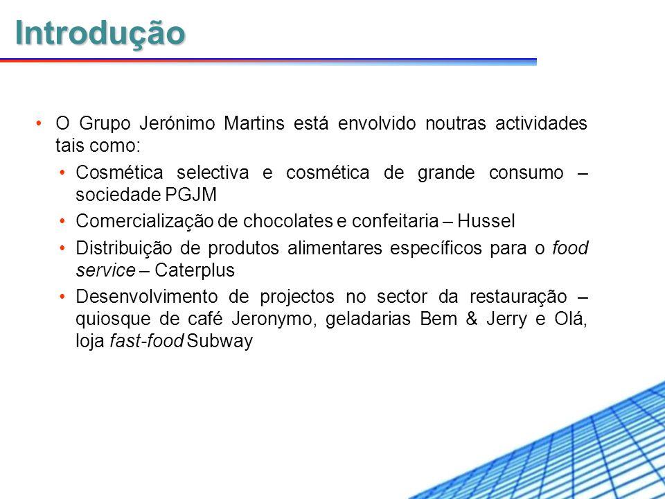 Introdução O Grupo Jerónimo Martins está envolvido noutras actividades tais como: Cosmética selectiva e cosmética de grande consumo – sociedade PGJM.