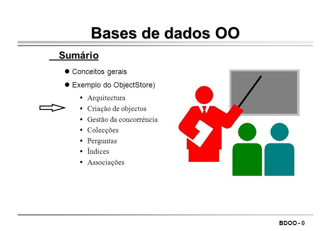 Bases de dados OO Sumário Conceitos gerais Exemplo do ObjectStore)