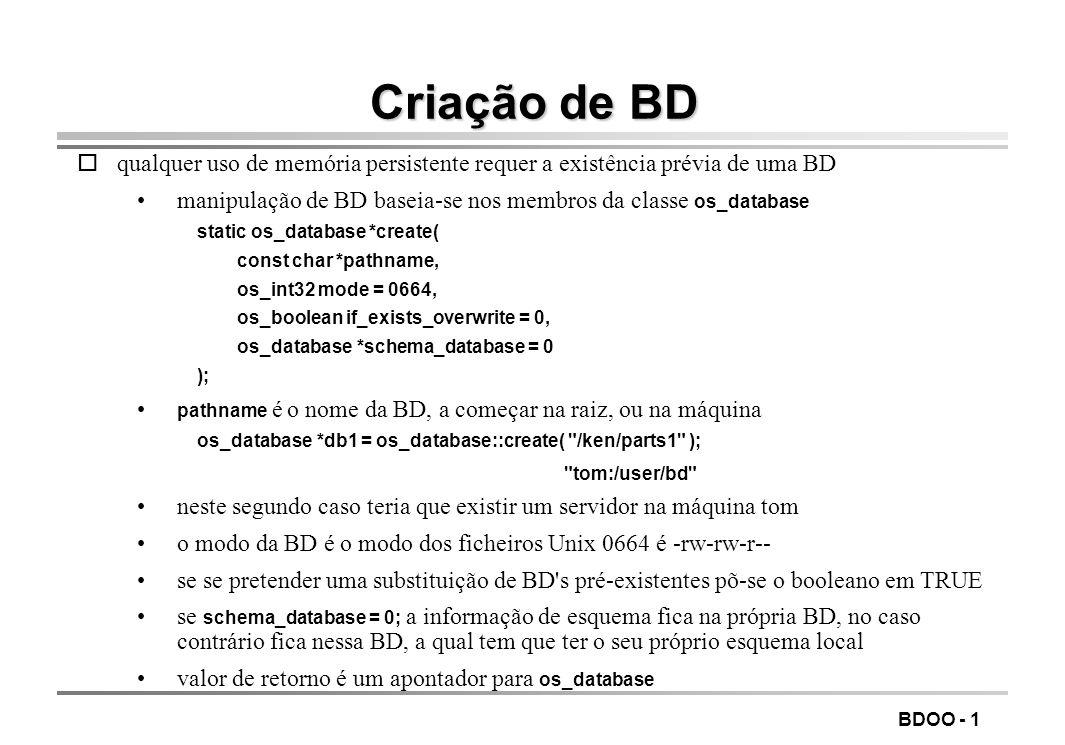LEIC/FEUP Tecnologia de Sistemas de Gestão de Bases de Dados. Criação de BD.