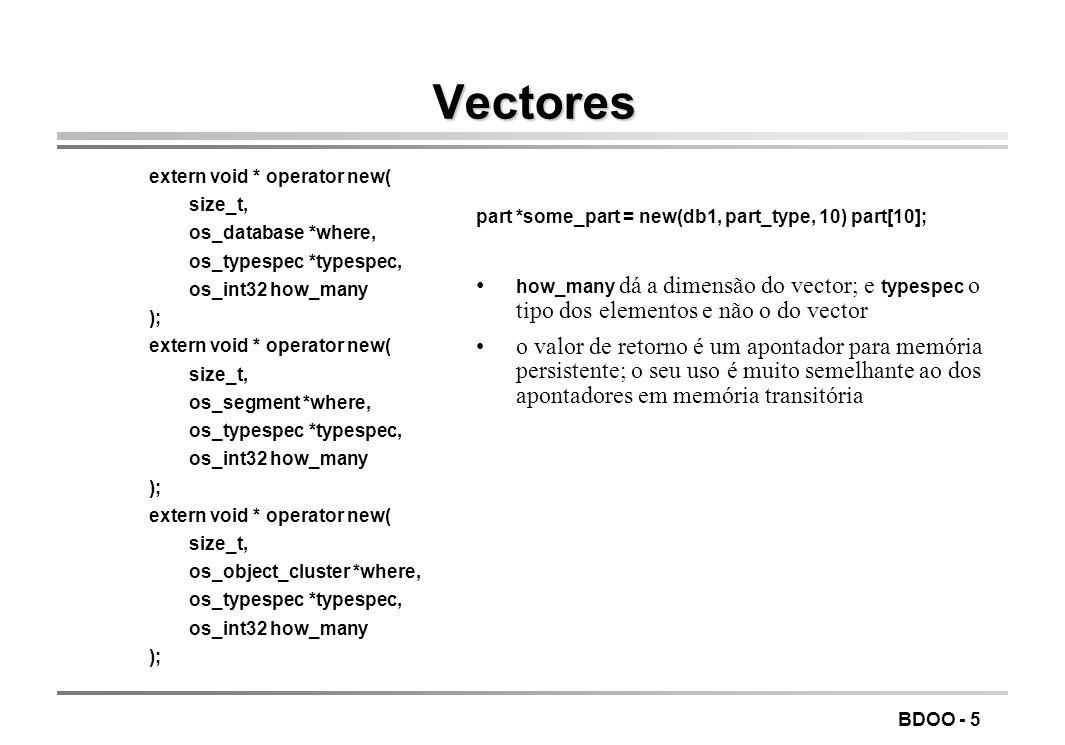 LEIC/FEUP Tecnologia de Sistemas de Gestão de Bases de Dados. Vectores. extern void * operator new(