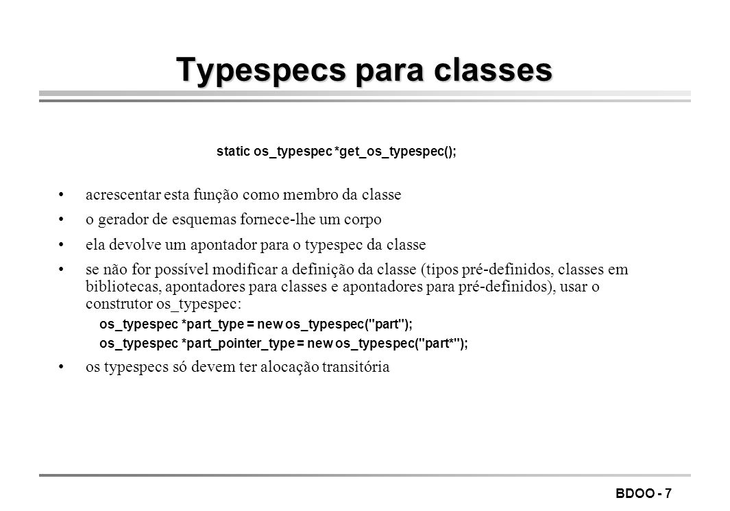 Typespecs para classes