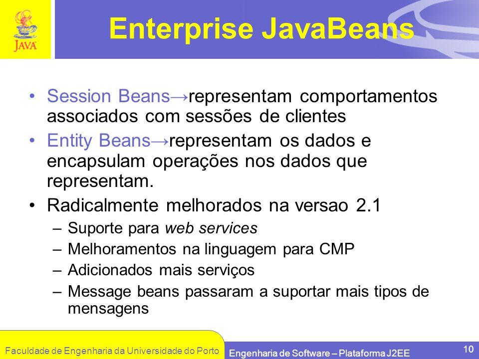 Enterprise JavaBeans Session Beans→representam comportamentos associados com sessões de clientes.