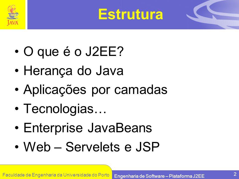 Estrutura O que é o J2EE Herança do Java Aplicações por camadas