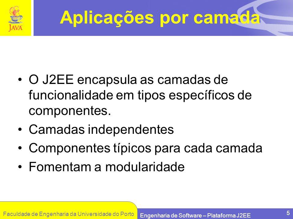 Aplicações por camada O J2EE encapsula as camadas de funcionalidade em tipos específicos de componentes.