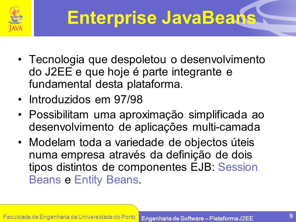 Enterprise JavaBeans Tecnologia que despoletou o desenvolvimento do J2EE e que hoje é parte integrante e fundamental desta plataforma.