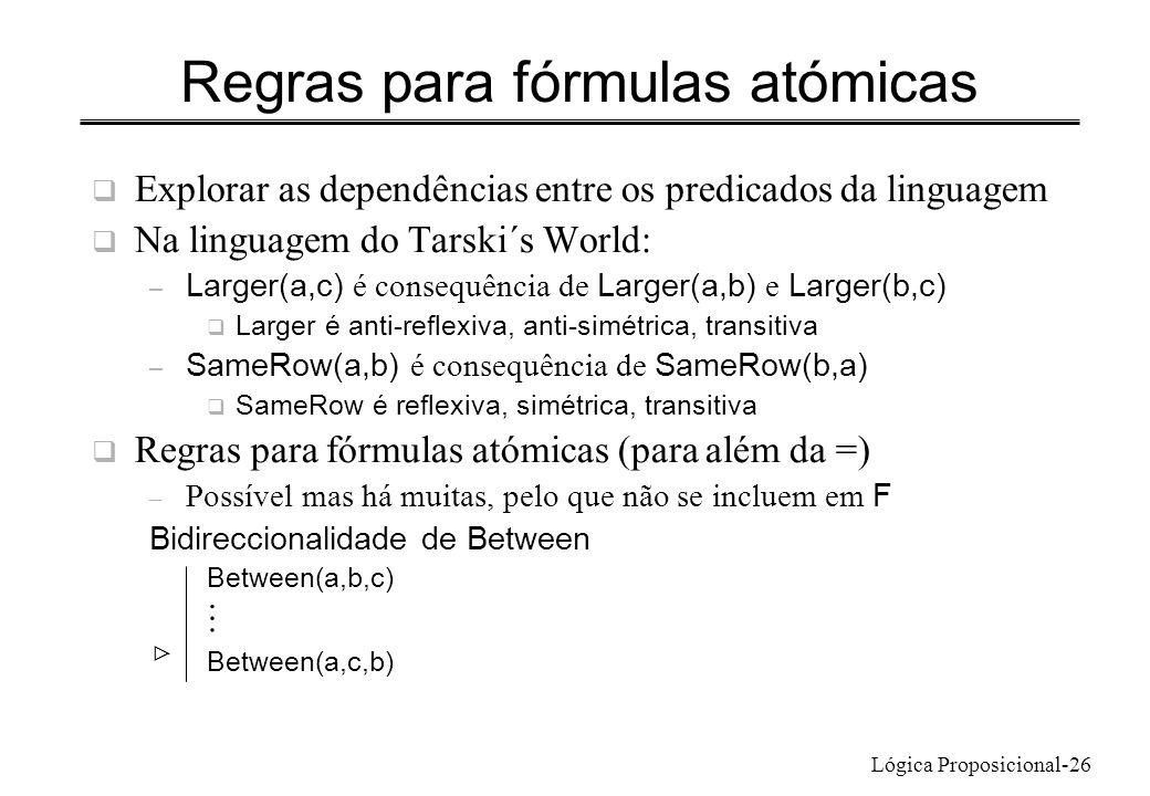 Regras para fórmulas atómicas