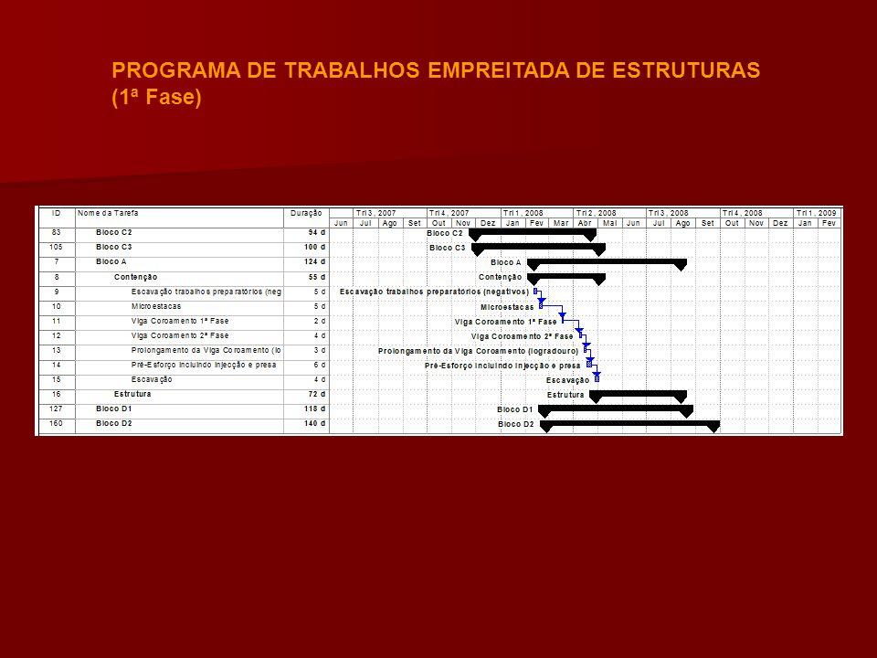 PROGRAMA DE TRABALHOS EMPREITADA DE ESTRUTURAS (1ª Fase)