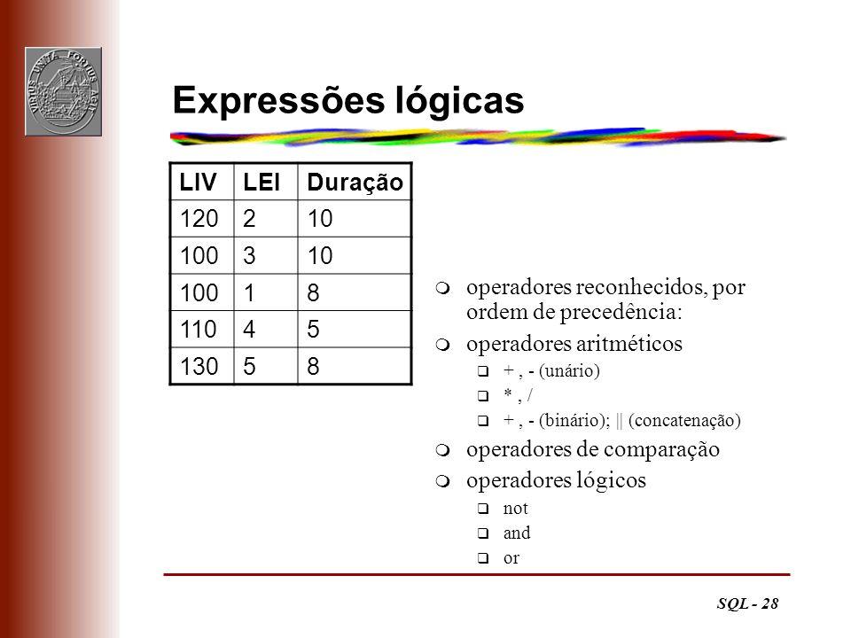 Expressões lógicas LIV LEI Duração 120 2 10 100 3 1 8 110 4 5 130