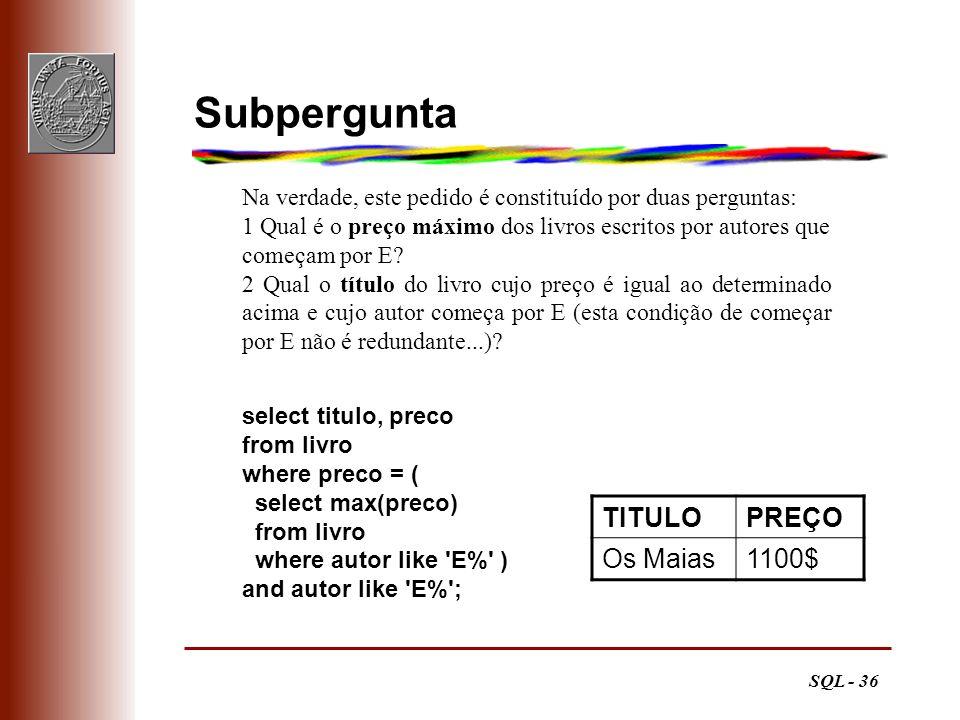 Subpergunta TITULO PREÇO Os Maias 1100$