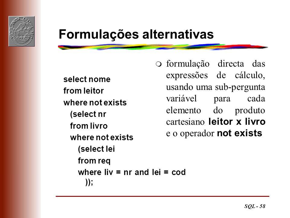 Formulações alternativas