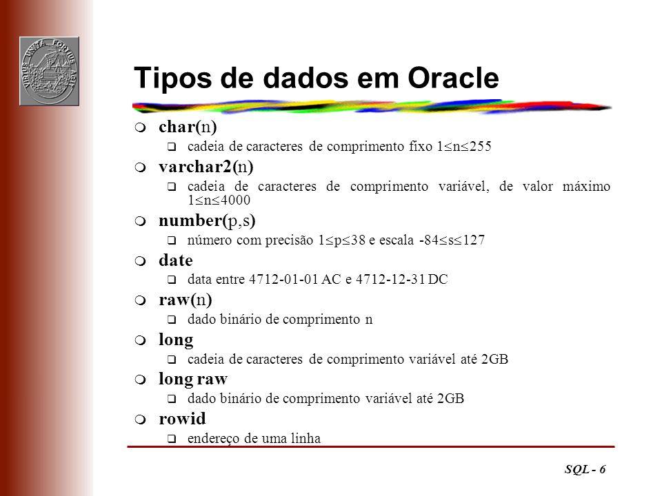 Tipos de dados em Oracle