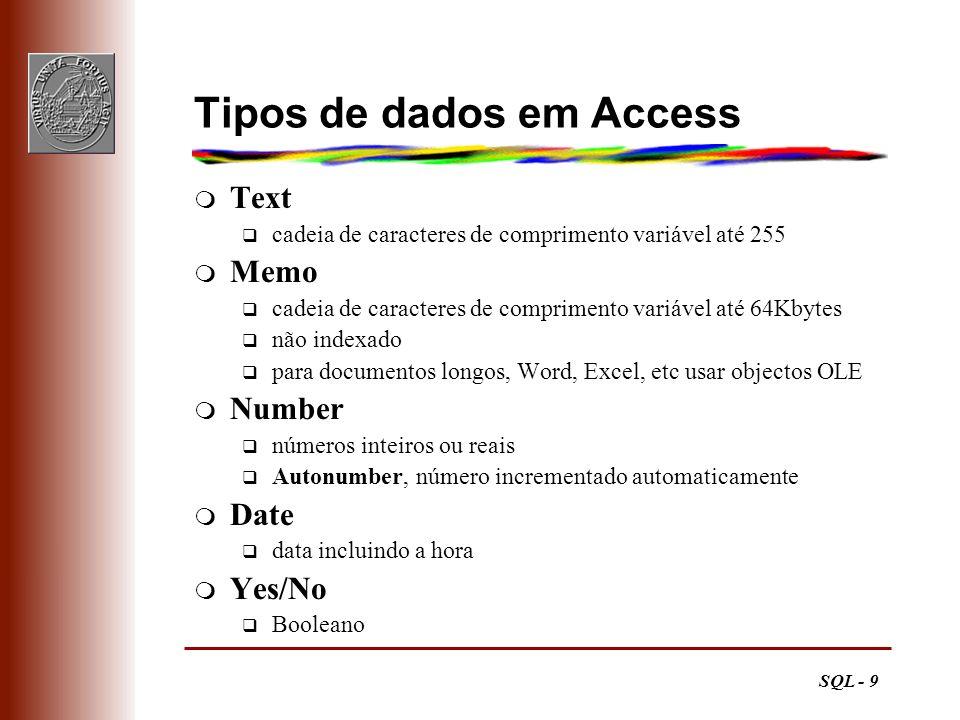 Tipos de dados em Access