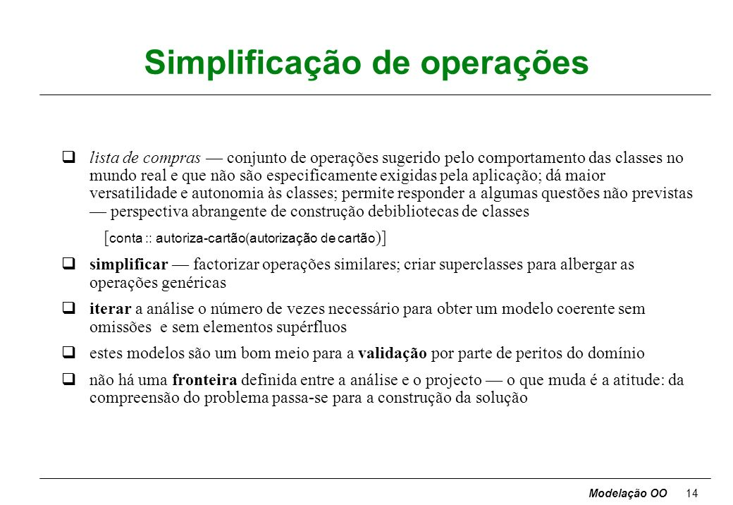 Simplificação de operações
