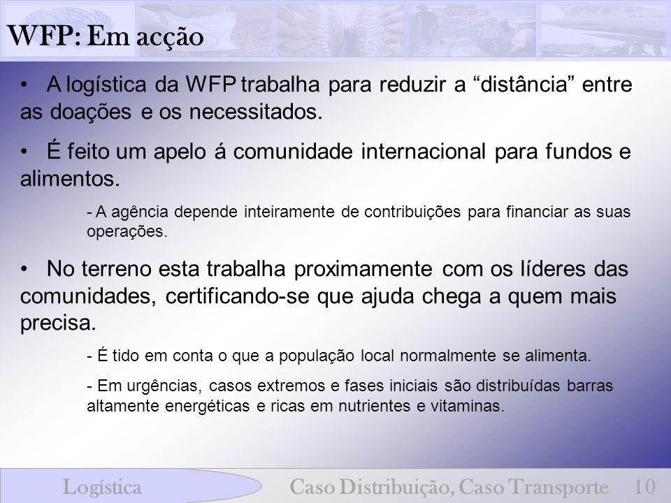 WFP: Em acção A logística da WFP trabalha para reduzir a distância entre as doações e os necessitados.