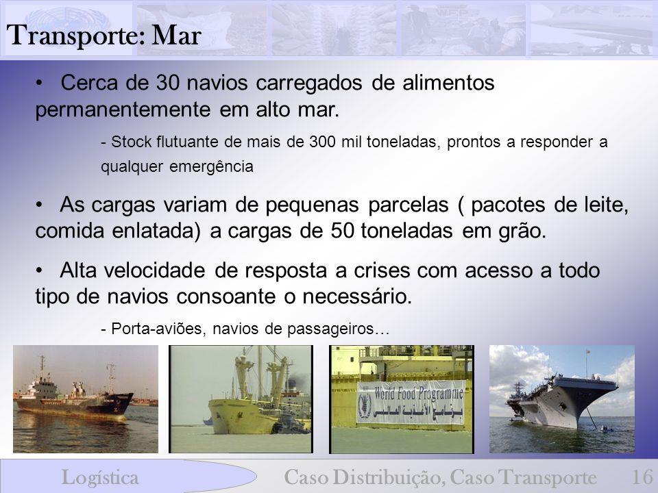 Transporte: Mar Cerca de 30 navios carregados de alimentos permanentemente em alto mar.