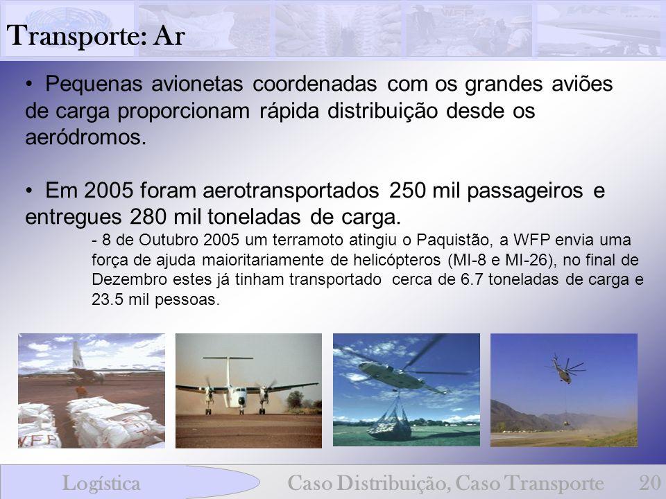 Transporte: Ar Pequenas avionetas coordenadas com os grandes aviões de carga proporcionam rápida distribuição desde os aeródromos.