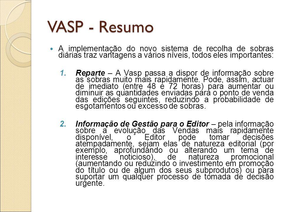 VASP - ResumoA implementação do novo sistema de recolha de sobras diárias traz vantagens a vários níveis, todos eles importantes: