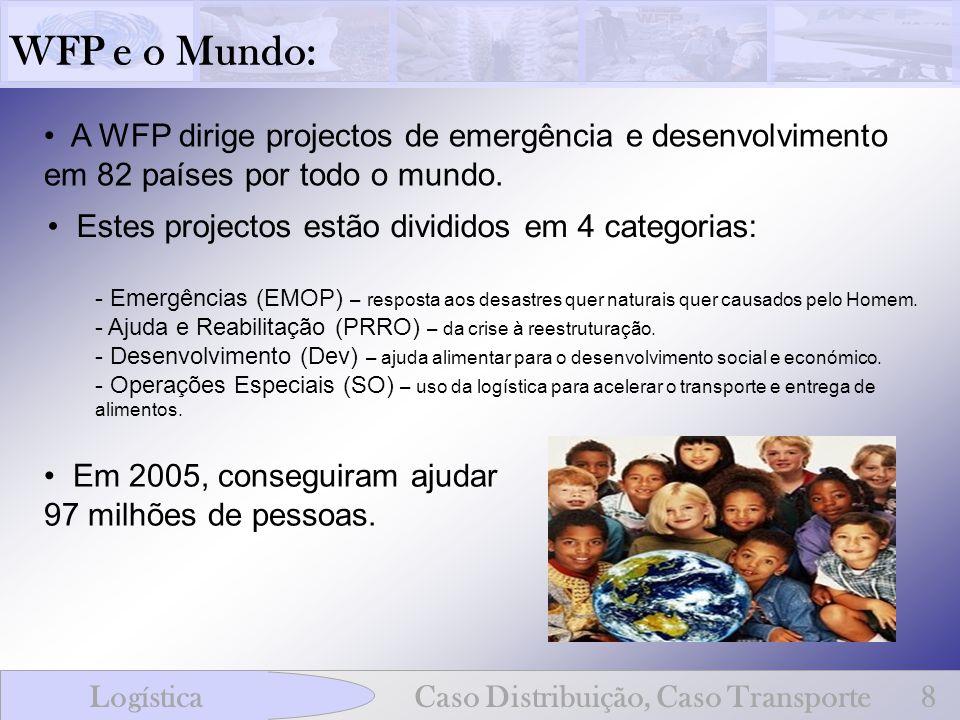 WFP e o Mundo: A WFP dirige projectos de emergência e desenvolvimento em 82 países por todo o mundo.