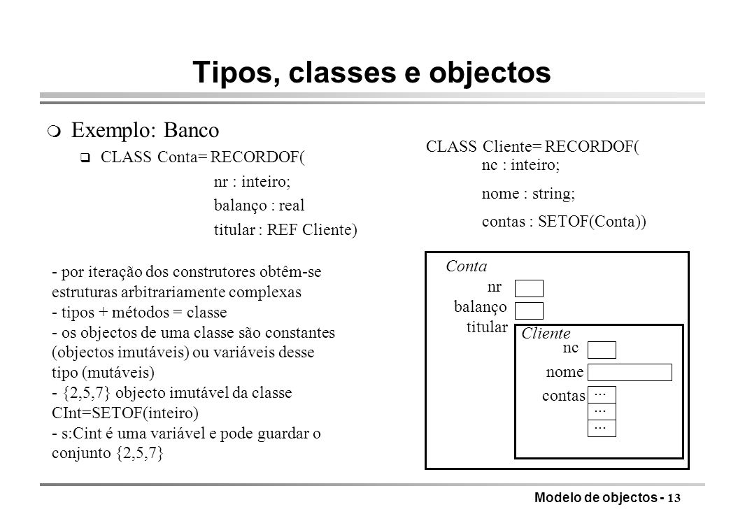 Tipos, classes e objectos