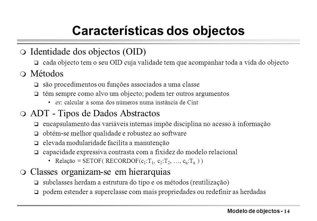 Características dos objectos